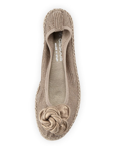Cleo Leather Espadrille Flat, Pewter