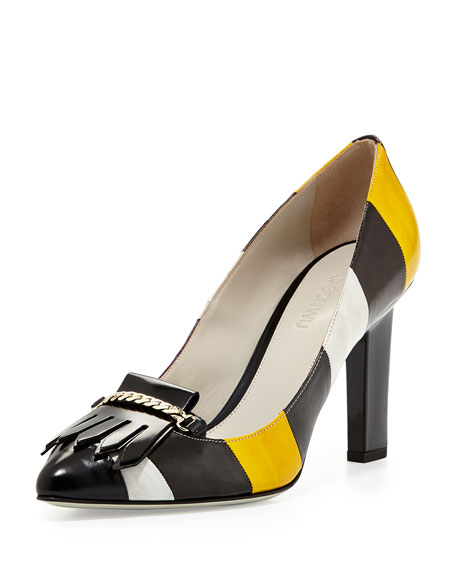 Beverly Striped Eel-Skin Loafer Pump