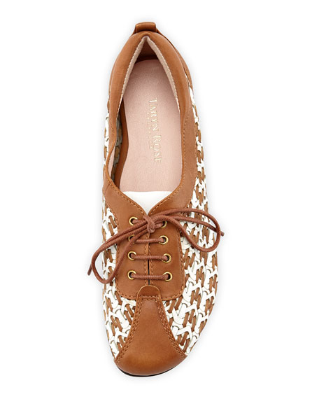 Trudee Woven Lace-Up Sneaker, White/Tan