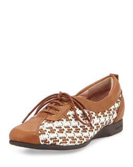 Taryn Rose Trudee Woven Lace-Up Sneaker, White/Tan