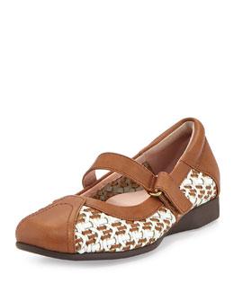 Taryn Rose True Woven Mary Jane Sneaker, White/Tan
