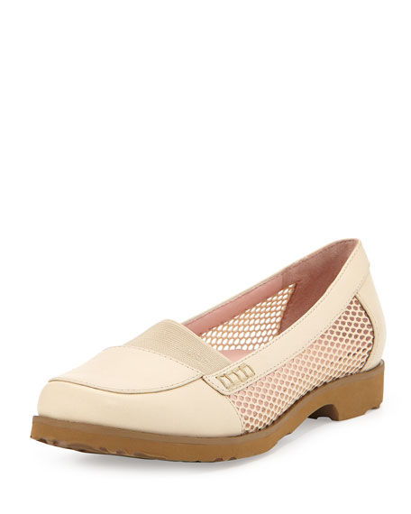 Taryn RoseJac Mesh and Leather Loafer, Sand