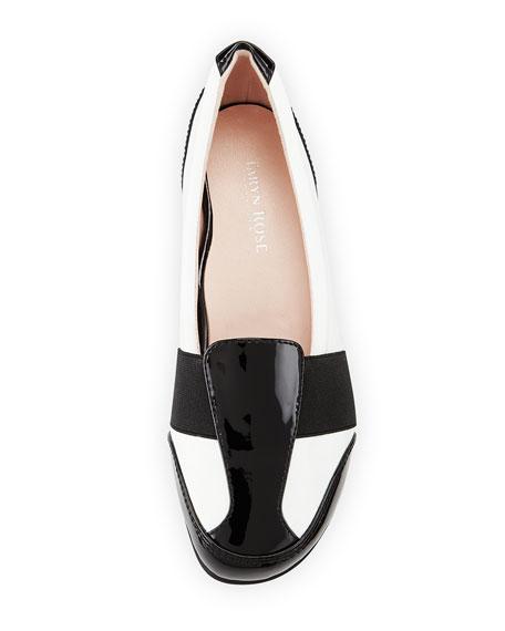 Taurus Flat Slip-On Loafer, White/Black