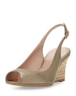 Stuart Weitzman Slinky Leather Slingback Wedge, Ale