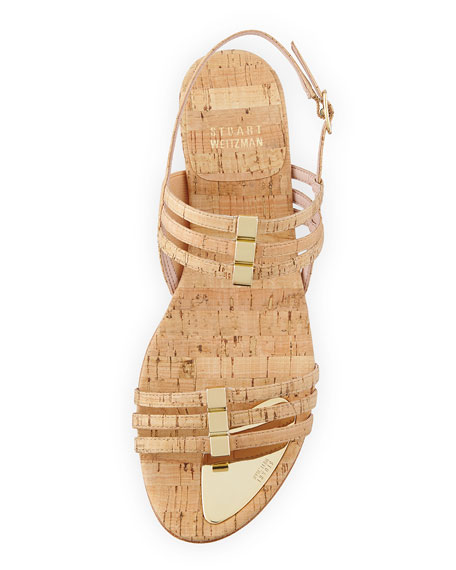 Playful Cork Wedge Sandal, Natural