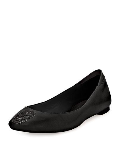 Sequin Skull Napa Ballerina Flat, Black