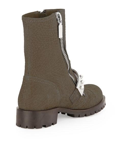 Nubuck Stud-Strap Moto Boot, Coco