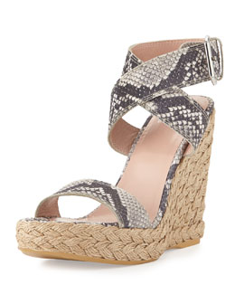 Stuart Weitzman Xray Snake-Print Jute Wedge, Natural (Made to Order)