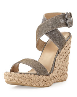 Stuart Weitzman Xray Glitter Jute Wedge, Pyrite (Made to Order)