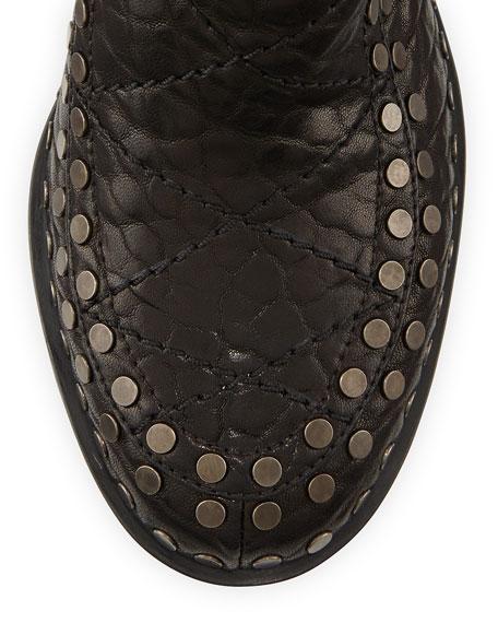 Gatsby Wrinkled Studded Ankle Boot, Black/Ruthenium