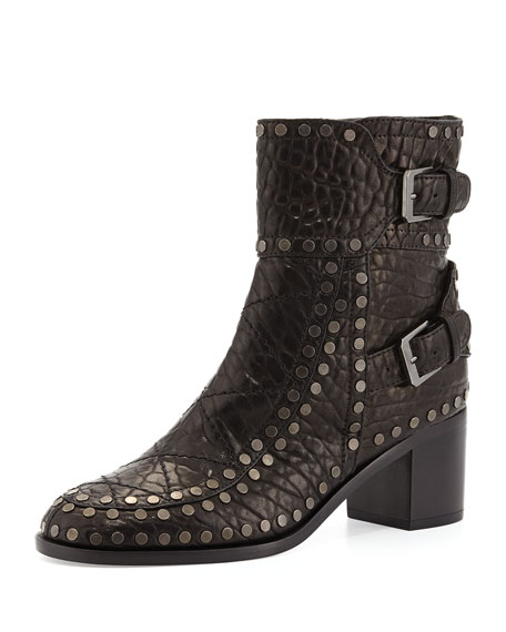 Laurence Dacade Gatsby Wrinkled Studded Ankle Boot, Black/Ruthenium