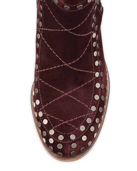 Studded Velvet Suede Ankle Boot, Wine Ruthenium