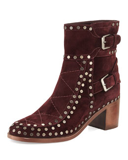Laurence Dacade Studded Velvet Suede Ankle Boot, Wine Ruthenium