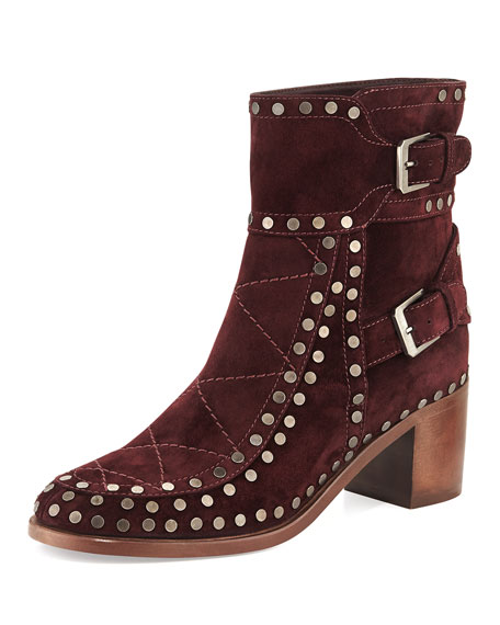 Studded Velvet Suede Ankle Boot, Wine Ruthenium