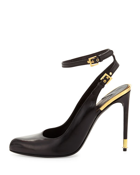 Leather Slingback Ankle-Strap Pump, Black