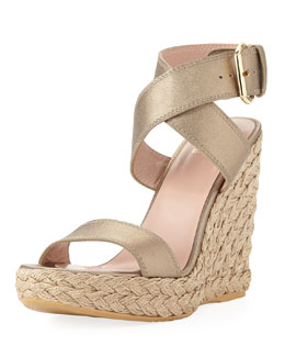 Stuart Weitzman Xray Metallic Leather Jute Wedge, Ale