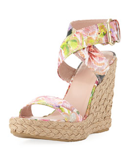 Stuart Weitzman Xray Python Floral Jute Wedge, Rose (Made to Order)