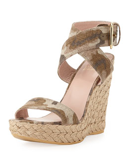 Stuart Weitzman Xray Linen Jute Wedge, Tan Camo (Made to Order)