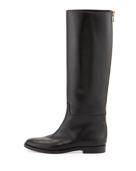 Zip-Back Flat Leather Knee Boot, Black