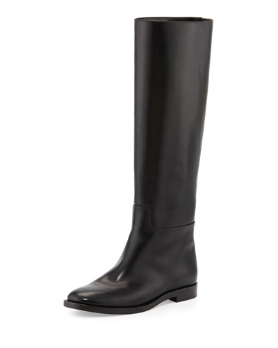 Tom Ford Zip-Back Flat Leather Knee Boot, Black