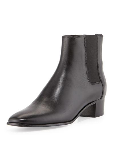 Tom Ford Chelsea Low-Heel Calfskin Boot, Black