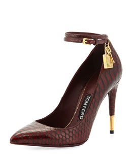 Tom Ford Padlock Ankle-Wrap Python Pump, Bordeaux