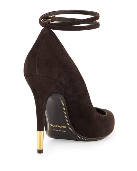 Suede Ankle-Lock Pump, Chocolate