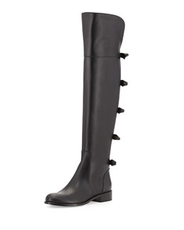 Valentino Bow-Back Over-the-Knee Boot, Noir