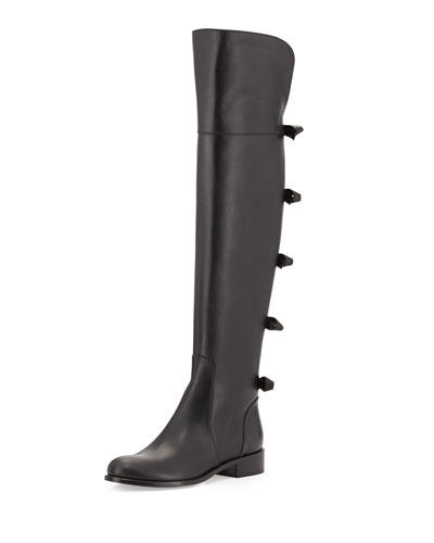 Bow-Back Over-the-Knee Boot, Noir