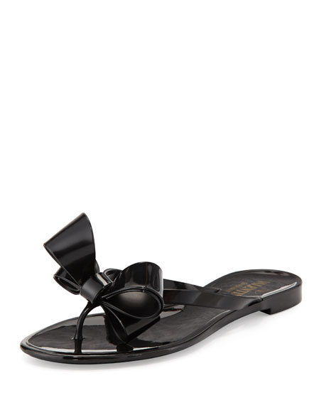Couture Bow Jelly Flat Thong Sandal, Black
