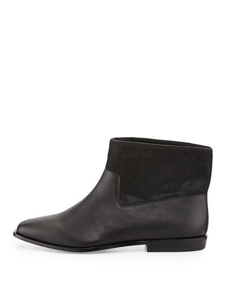 Trinket Calf Hair Ankle Boot, Black