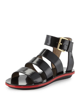Marni Triple Strap Leather Sandal, Coal