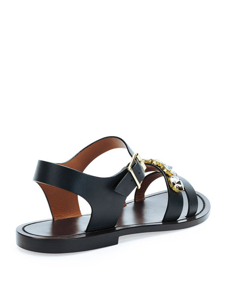 Jeweled Double-Strap Sandal, Coal