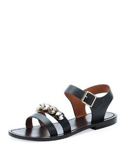 Marni Jeweled Double-Strap Sandal, Coal