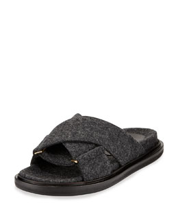 Marni Flannel Crisscross Flat Slide Sandal, Dark Anthracite