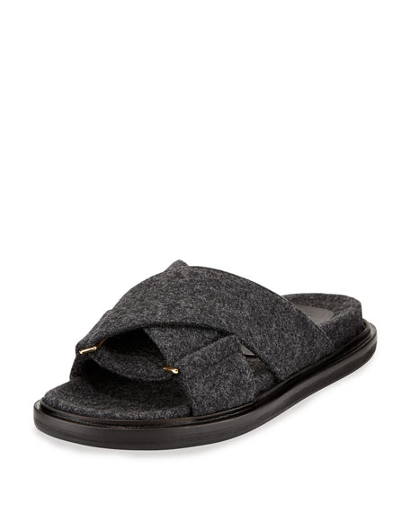 Flannel Crisscross Flat Slide Sandal, Dark Anthracite