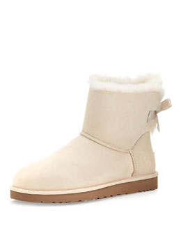 UGG Australia Mini Bailey Bow-Back Boot, Salt (Off White)