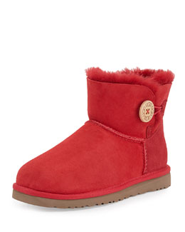 UGG Australia Mini Bailey Buttoned Boot, Red