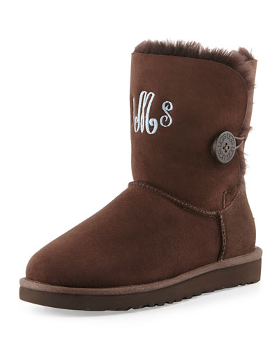 UGG Australia Monogrammed Bailey Button Short Boot, Chocolate