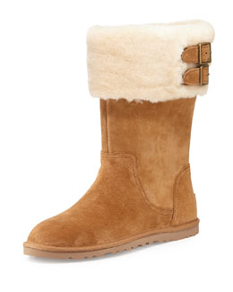 UGG Australia Beckham Double-Buckle Shearling-Cuffed Boot, Chestnut