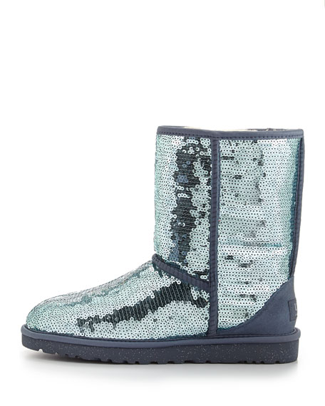 Sparkles Sequin Short Boot, Dolphin Blue