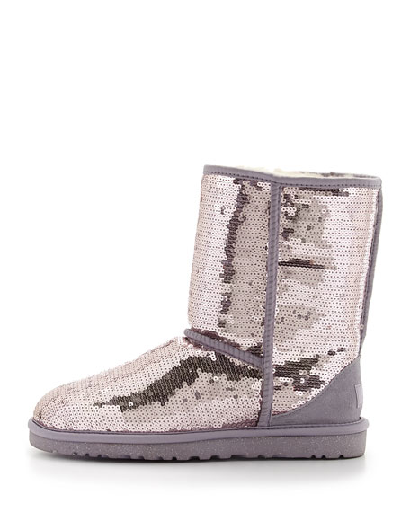 Sparkles Sequin Short Boot, Heathered Lilac