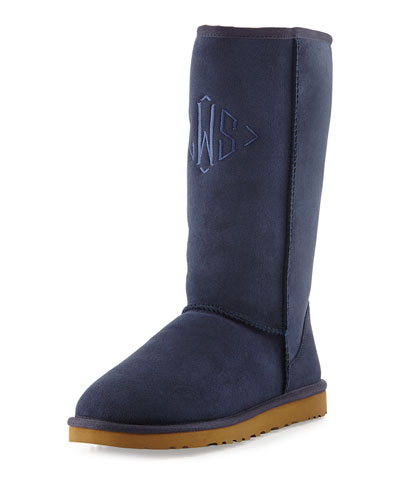 UGG Australia Monogrammed Classic Tall Boot, Navy