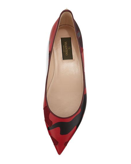 Patchwork Camo Ballerina Flat, Wine