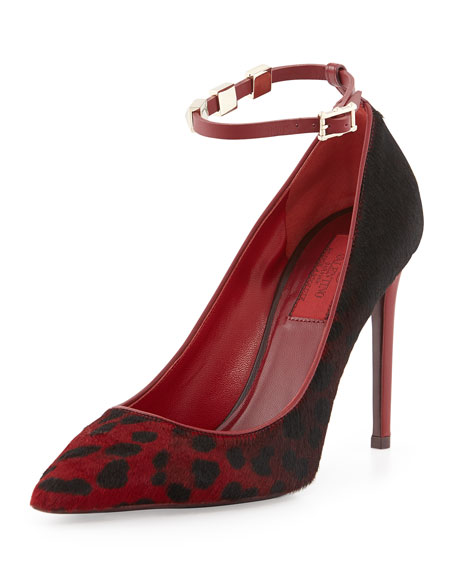 Rockstud Calf Hair Ankle-Strap Pump, Rosso