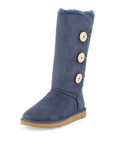 UGG Australia Monogrammed Bailey Button Tall Boot, Navy