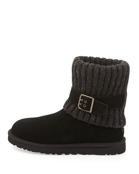 Cambridge Knit-Cuff Convertible Boot, Black