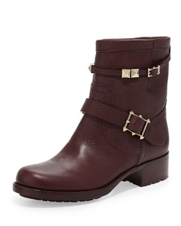 Valentino Rockstud Double-Buckle Low Biker Boot, Wine
