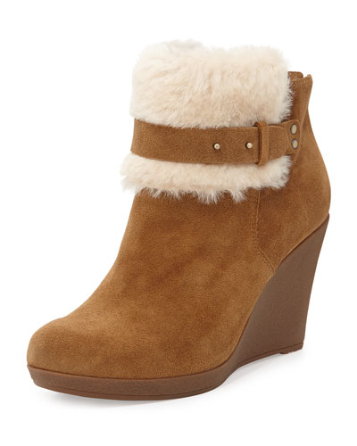 Antonia Sheepskin Wedge Bootie, Chestnut