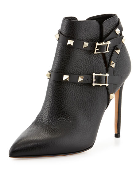 Valentino Rockstud Point-Toe Studded-Harness Ankle Boot